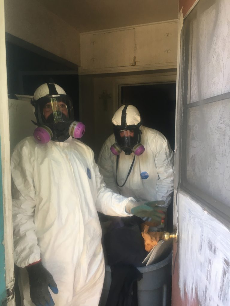 The BIOClean team cleaning a house, hoarder house, meth house